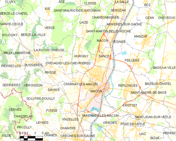 Map of the commune of Mâcon