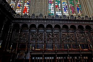 Cambridge - King's College Chapel 1446-1544 - Choir - Wooden Screen & Choir Stalls 1533-36 - View North