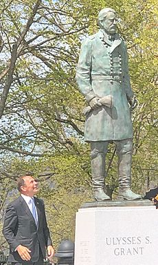 Robert McDonald Standing Next To Ulysses S. Grant Statue at West Point
