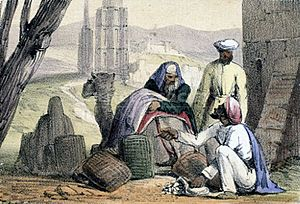 A print from 1845 shows cowry shells being used as money by an Arab trader