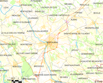 Map of the commune of Montauban