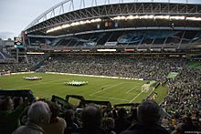 The Seattle Sounders FC play their games at Qwest Field in Seattle, Washington.
