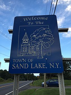 Sign at the west entrance to Sand Lake