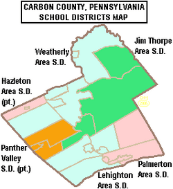 Map of Carbon County Pennsylvania School Districts
