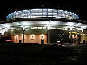 The Dow Event Center at night