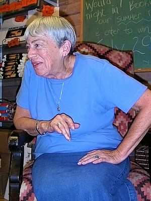 Ursula K. Le Guin at an informal bookstore Q&A session, July 2004