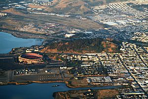 An aerial view of Bayview Park, which encompasses Candlestick (or Bayview) Hill, immediately adjacent to Candlestick Park.