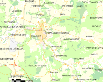 Map of the commune of Chaumont