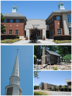Top, left to right: Mauldin City Hall, Mauldin United Methodist Church, Mauldin Cultural Center, Mauldin High School