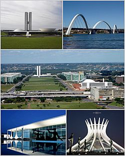 From upper left: National Congress of Brazil, Juscelino Kubitschek bridge, Monumental Axis, Palácio da Alvorada and Cathedral of Brasília.