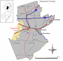 Map of Branchburg Township in Somerset County. Inset: Location of Somerset County highlighted in the State of New Jersey.