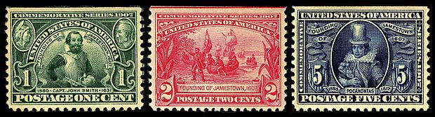 Founding of Jamestown 3 stamps 1907 issue