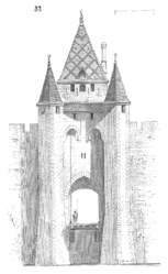 Sketch of the gate to the city by Eugène Viollet-le-Duc