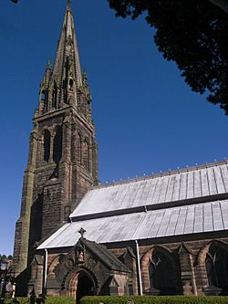 St Giles RC Church Cheadle Staffs tower.jpg