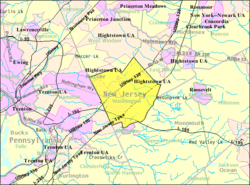Census Bureau map of Washington Township, Mercer County, New Jersey (currently known as Robbinsville Township)