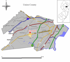 Map of Garwood in Union County. Inset: Location of Union County in the State of New Jersey.
