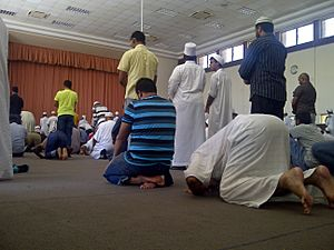 Muslims perfom sunnah salat in at Orient Islamic School on friday-2014.01.24