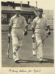 StateLibQld 1 233104 Autographed photograph of the English batsmen, Jack Hobbs and Herbert Sutcliffe, 1928