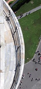 View, looking down from top of Leaning Tower of Pisa