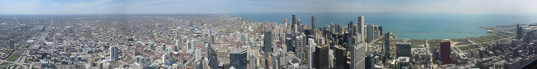 View of Chicago greater metropolitan region and the dense downtown area from the Willis Tower