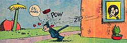 cartoon of brick hitting kit kat in back of head from 1937