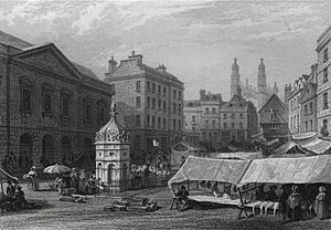 Cambridge market place Le Keux 1841