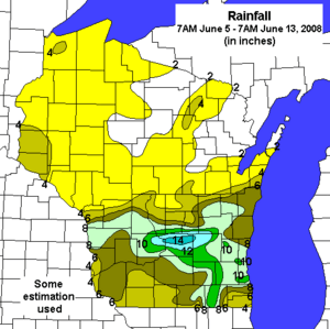 Wisconsin Rain 5 June to 13 June 2008