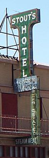 Gila Bend-Stout Hotel sign-1927