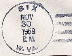 Postmark from Six, West Virginia