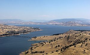Lake Hume from the air in summer