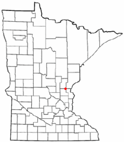 Location of the city of Brahamwithin Isanti and Kanabec Countiesin the state of Minnesota