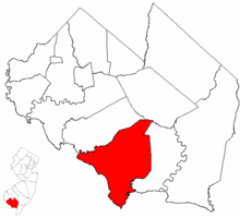 Downe Township highlighted in Cumberland County. Inset map: Cumberland County highlighted in the State of New Jersey.