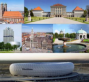 From left to right:The Munich Frauenkirche, the Nymphenburg Palace, the BMW Headquarters, the New Town Hall, the Munich Hofgarten and the Allianz Arena.