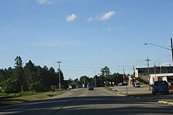 Looking north at downtown Pembine