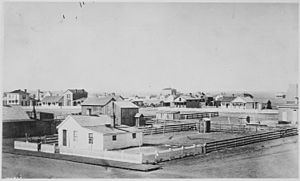 """Cheyenne, Wyo., 1876."" General view of this town on the Oregon Trail - NARA - 531115"