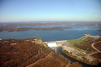 Aerial photo of Table Rock Dam, lake, and White River, October 2009