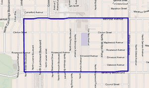 Map of Larchmont neighborhood, Los Angeles, California