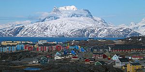 Nuussuaq district of Nuuk with the Sermitsiaq mountain in the background
