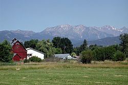 View from the south side of Halfway, looking north toward the Wallowa Mountains