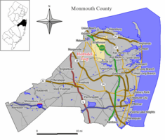 Map of Holmdel Township in Monmouth County. Inset:Location of Monmouth County in the State of New Jersey.