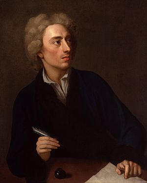 Alexander Pope (c.1727), an English poet best known for his Essay on Criticism, Rape of the Lock and The Dunciad