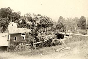 Grist Mill and bridge over Spruce Brook. East Litchfield 1900