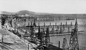 Oil wells just offshore at Summerland, California, c.1915