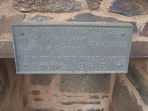 1820 - BHP Chimney Ruin of First Offices - Plaque detailing the builders of the BHP Fireplace and year of construction (5061024b2)