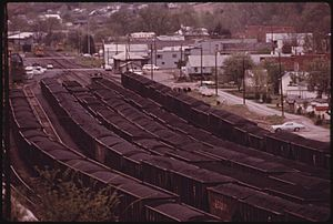COAL YARD WITH LOADED RAIL CARS READY TO BE SHIPPED TO CUSTOMERS OUT OF DANVILLE, WEST VIRGINIA, NEAR CHARLESTON. IT... - NARA - 556407