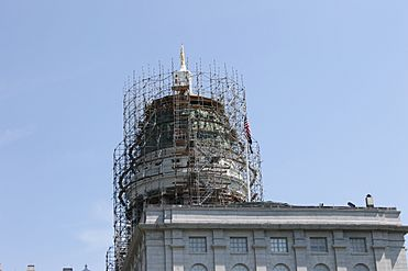 Scaffolding on Maine capitol dome, Augusta, ME IMG 1980