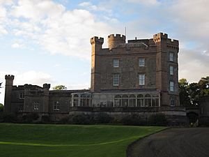Caprington Castle on an August evening.