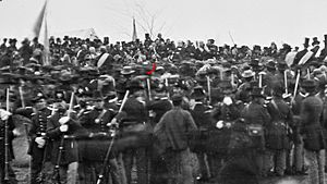 Crowd of citizens, soldiers, and etc. with Lincoln at Gettysburg. - NARA - 529085 -crop