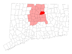 Location of South Windsor within Hartford County, Connecticut