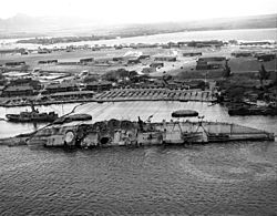 Righting of the USS Oklahoma with winches on Ford Island
